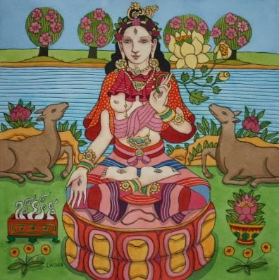 White Tara with Deer, Incense and Lotus Flower