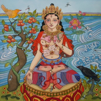 White Tara with Dragonflies and Raven