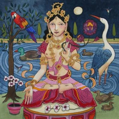White Tara with Full Moon and Birds