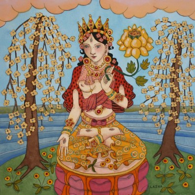 White Tara with Golden Blossoms