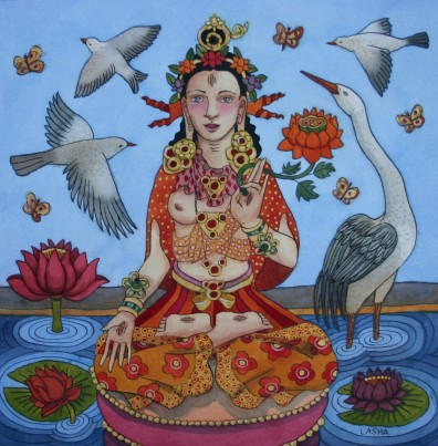 White Tara with Lotuses and Birds