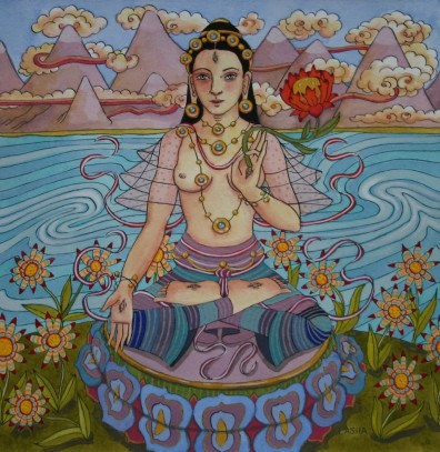 White Tara with Mountains and Flowers