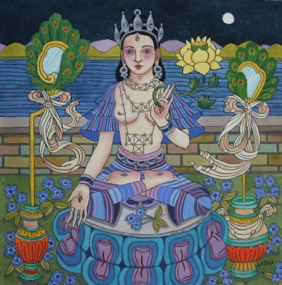 White Tara with Peacock Feathers and Mirrors