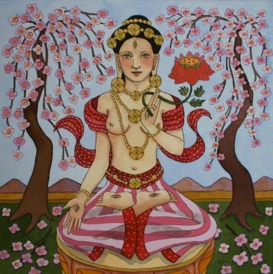 White Tara with Pink Flowers