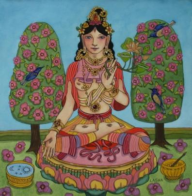 White Tara with Water Mirror and Singing Bowl