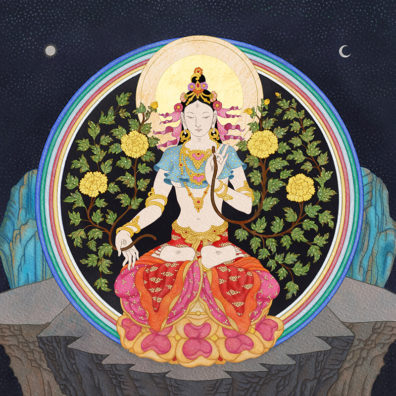 White Tara with Yellow Lotus Flowers